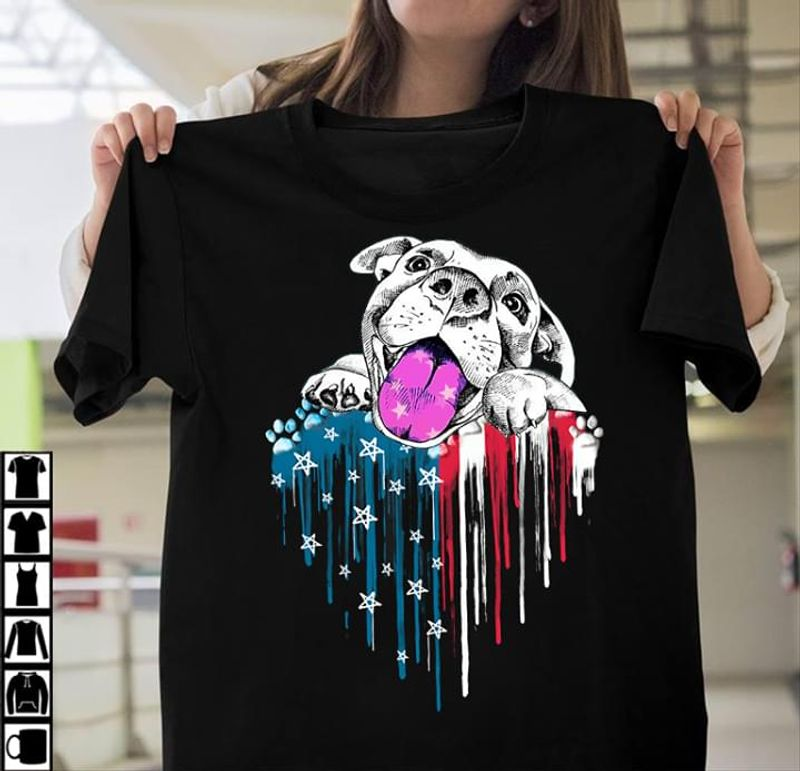 Pitbull Heart US Flag 4th Of July Independence Day T Shirt S-6XL Mens And Women Clothing