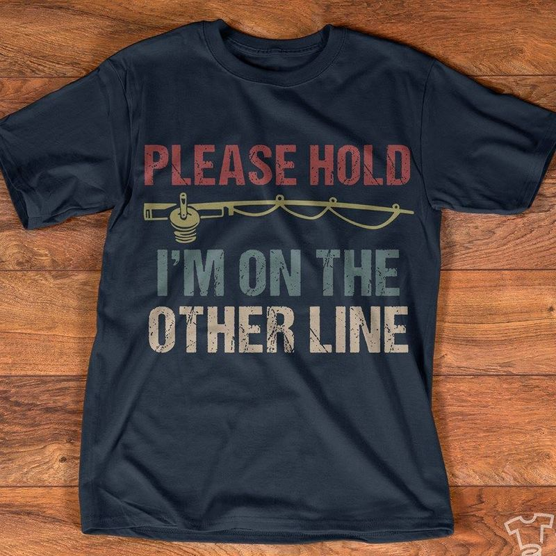 Please Hold Im On The Other Line T-shirt Black A4