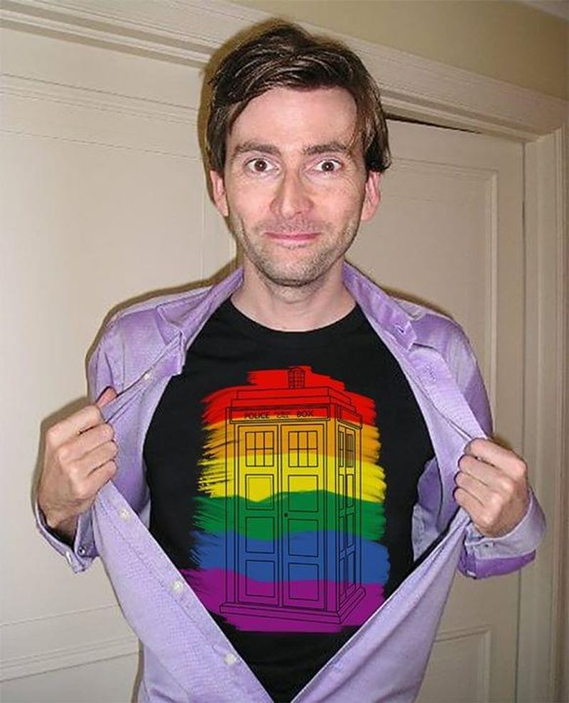 Police Public Call Box Tardis LGBT Gay Pride Black T Shirt Men/ Woman S-6XL Cotton