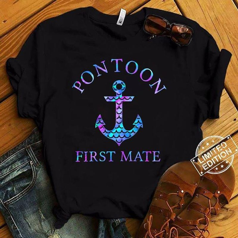 Pontoon Boating First Mate Boat Anchor Mermaid Scale Galaxy BlackT Shirt Men/ Woman S-6XL Cotton