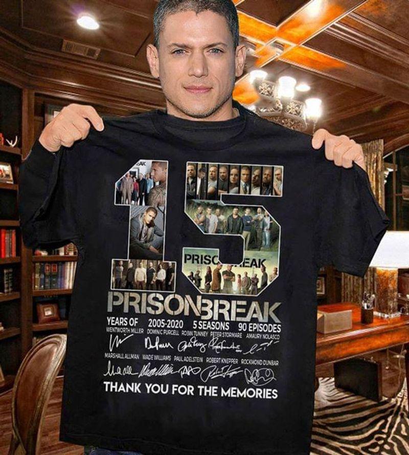 Prison Break 15 Years Of 2005-2020 5 Seasons Thank You For The Memories Signature Black T Shirt Men/ Woman S-6XL Cotton