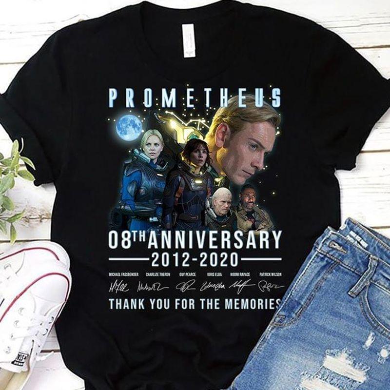 Prometheus Shirt 08th Anniversary Signature Thank For Memories Black T Shirt Men And Women S-6XL Cotton
