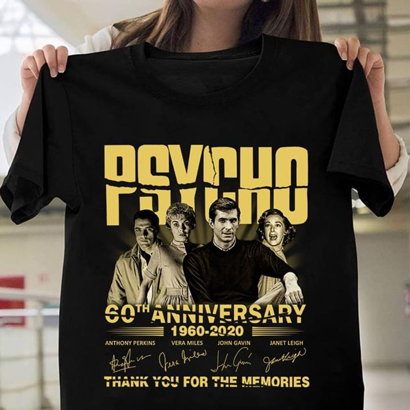 Psycho 60th Anniversary Thank You For The Memories Psycho Signed Black T Shirt Men/ Woman S-6XL Cotton