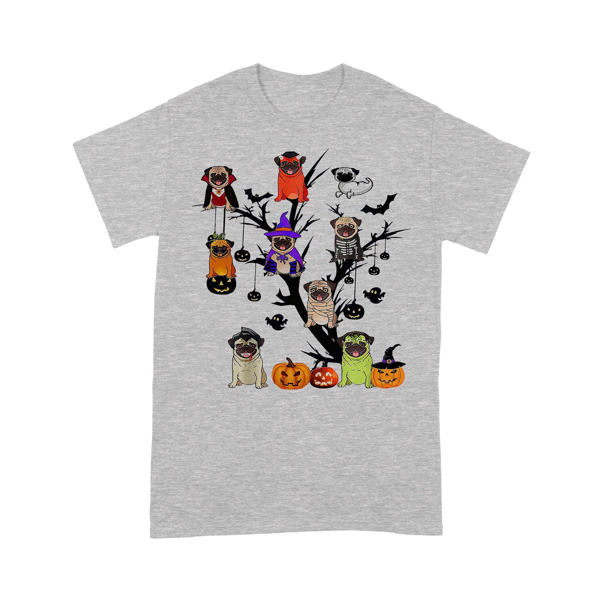 Pug Dog Halloween Tree T-shirt