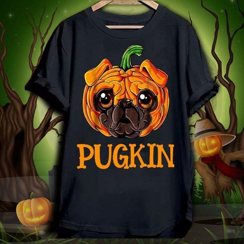 Pugkin Lovely Pug Dog Halloween Gift Idea For Pug Lovers Black T Shirt Men And Women S-6XL Cotton