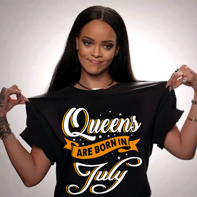 Queens Are Born In July T Shirt Black A8