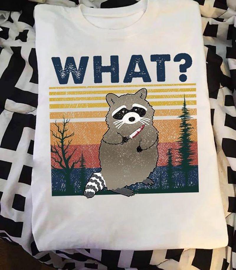 Raccoon Murder What Adorable Murderous Raccoon Vintage Retro Style White T Shirt Men And Women S-6XL Cotton