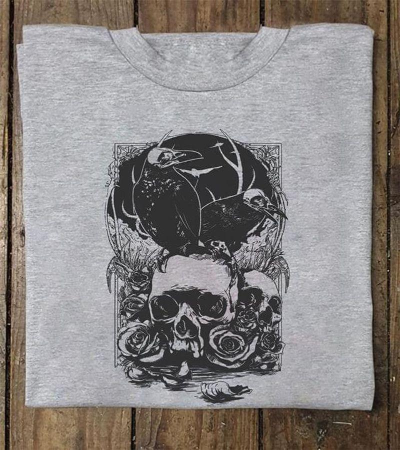Raven Skull Flower T Shirt Men/ Woman S-6XL Cotton