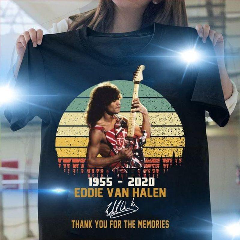 Retro Eddie Van Halen Portrait Eddie Van Halen Memorial T-shirt Eddie Van Halen Signed Black T Shirt Men And Women S-6XL Cotton