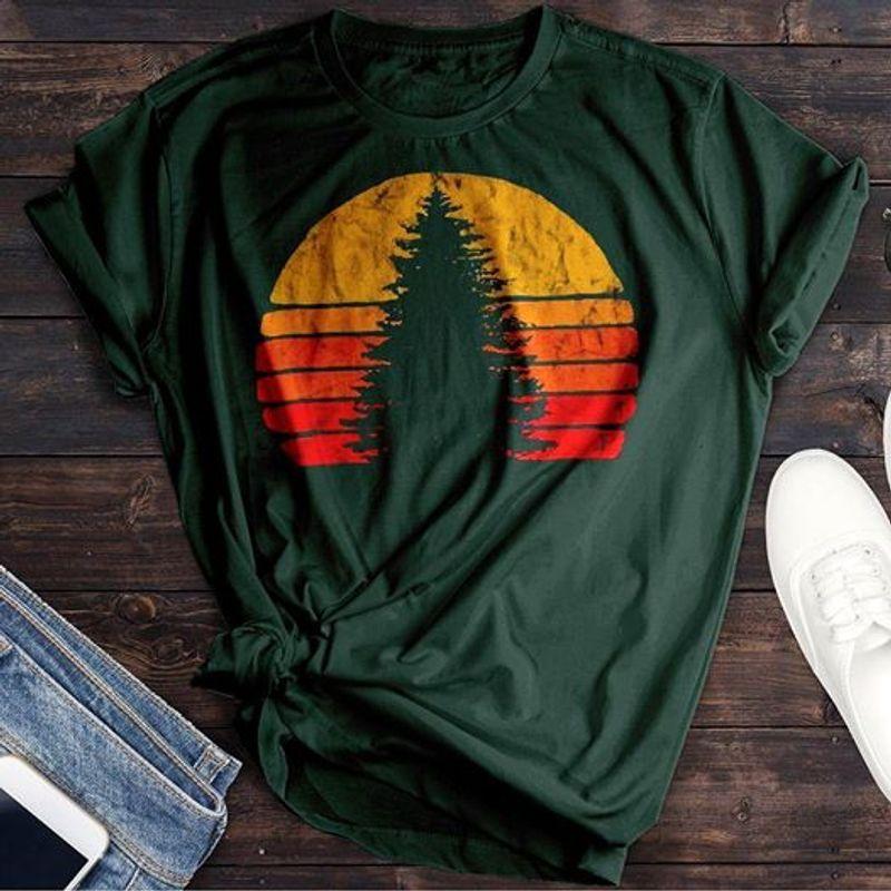 Retro Sunset Pine Tree T-shirt Green