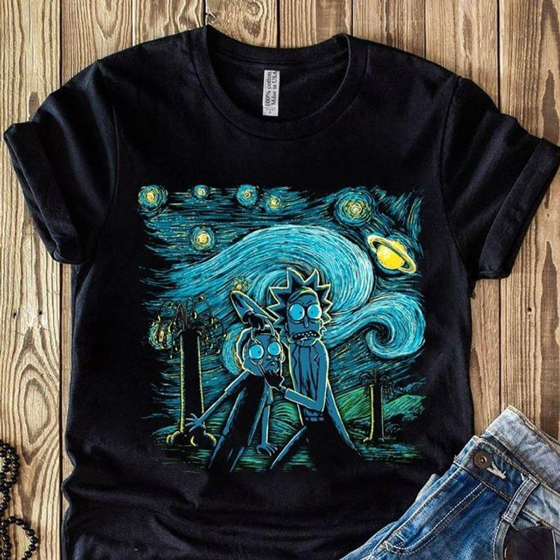 Rick And Morty Starry Night Van Gogh Black T Shirt Men And Women S-6XL Cotton