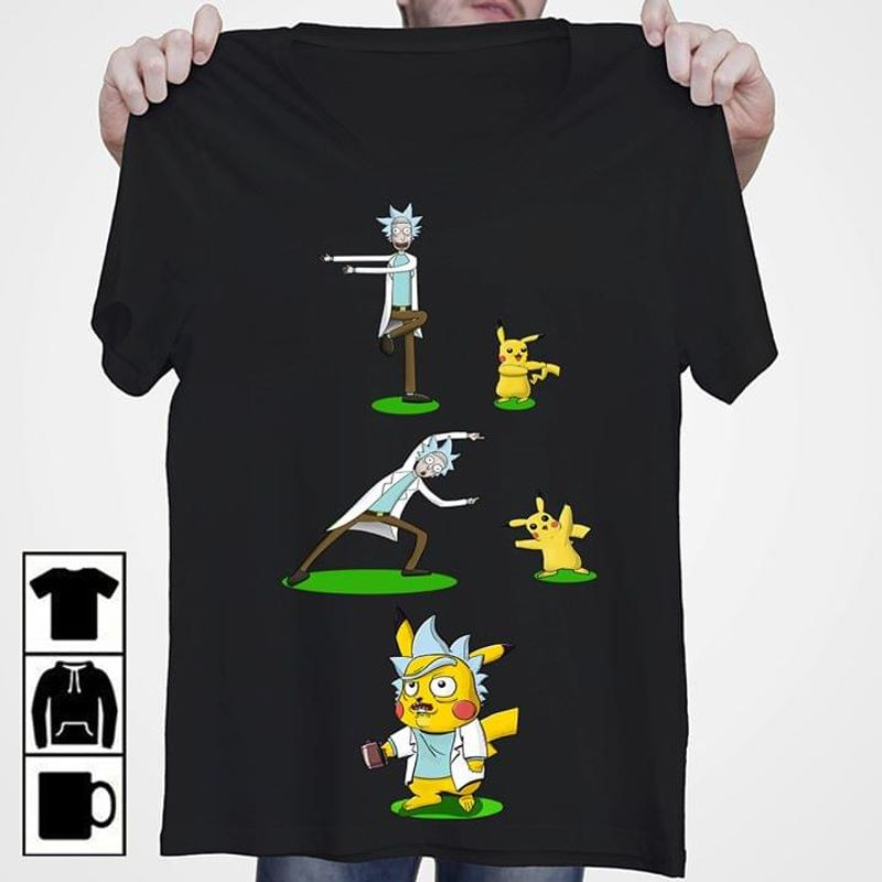 Rick Morty Pikachu Funny Do Exercises Healthy Great Idea For Rick Fans Black T Shirt Men And Women S-6XL Cotton