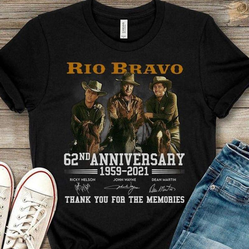 Rio Bravo Fans 62th Anniversary Signature Cowboy Movies Lover Black T Shirt Men And Women S-6XL Cotton