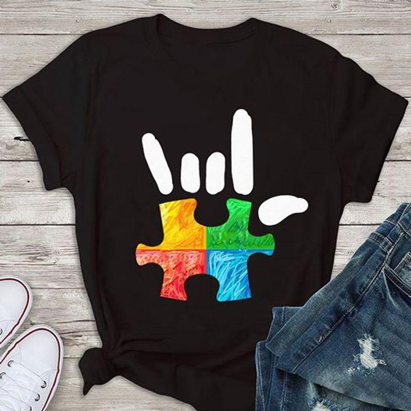 Rock Hand Sign Autism Awareness T Shirt Black A8