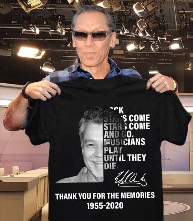 Van Halen Symbol Remembering Eddie Van Halen 1955 2020 Eddie Signature Black T Shirt Men And Women S-6XL Cotton