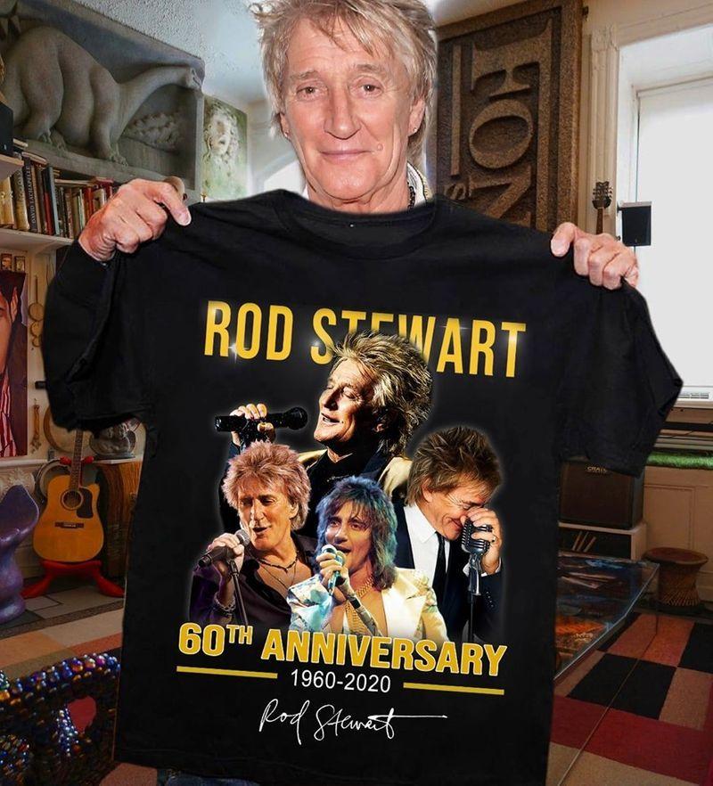 Rod Stewart 60th Anniversary 1960 2020 Rod Stewart T Shirt Black A4