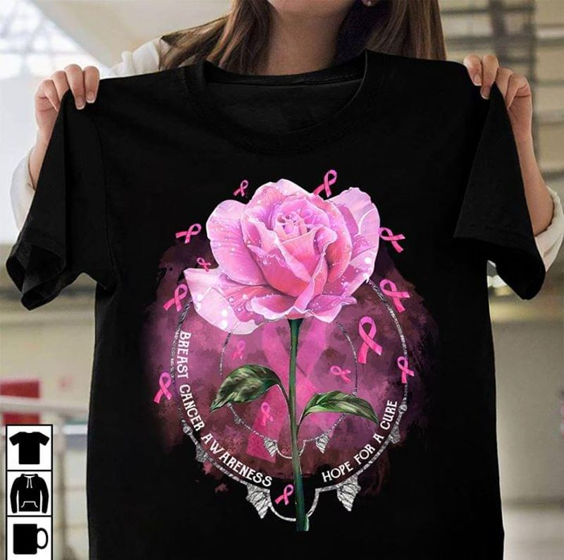 Rose Beast Cancer Awareness Hope For A Cure Ribbon Gift For Patients Black T Shirt Men And Women S-6XL Cotton