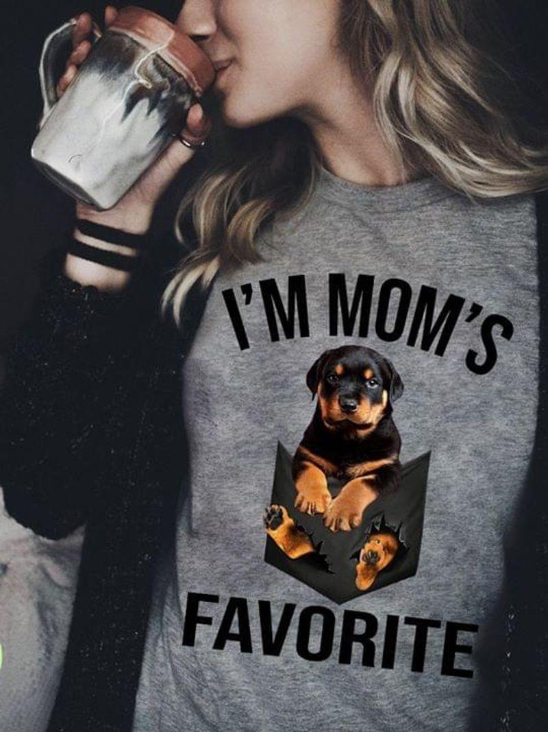 Rottweiler Faux Pocket I'M Mom'S Favorite Best Mom Ever Dark Heather T Shirt Men And Women S-6XL Cotton
