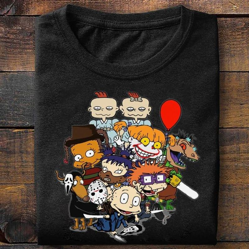 Rugrats Horro Character Version Happy Halloween Special Gift For Fans Black T Shirt Men And Women S-6XL Cotton