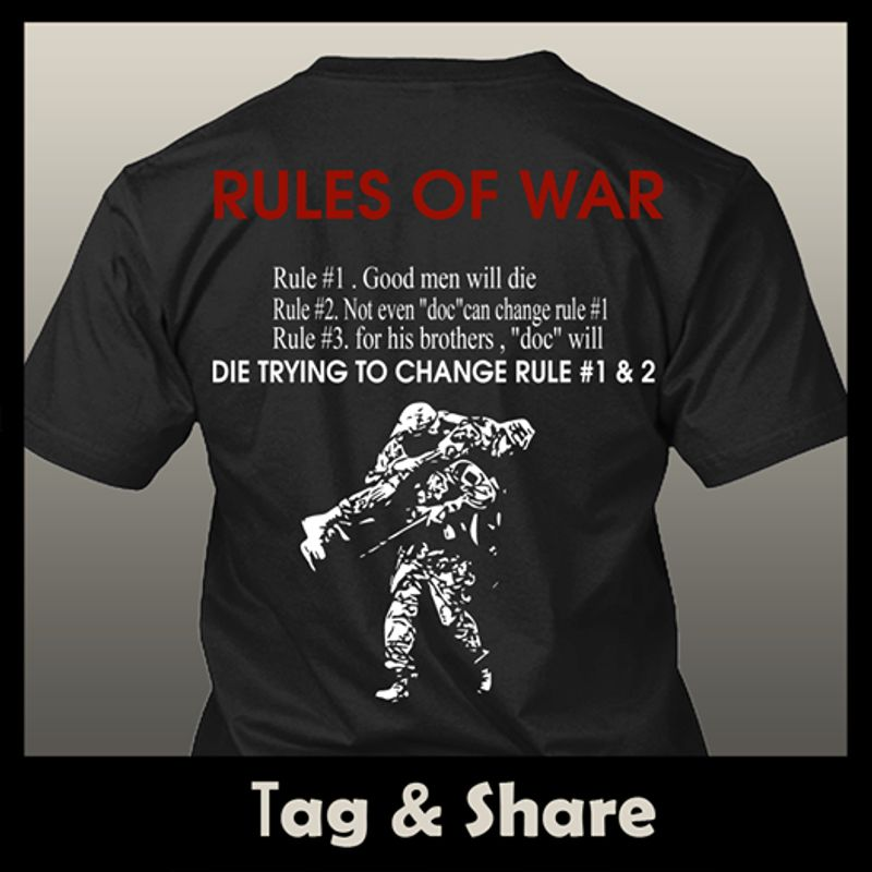 Rules Of War Die Trying To Change Rule T-shirt Black A5