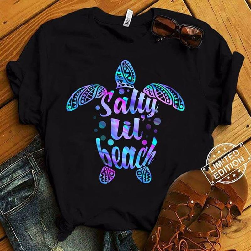 Salty Lil Beach Turtle Reptiles Belonging To The Crown Of The Super Chelonia Tree Ocean Black  T Shirt Men/ Woman S-6XL Cotton