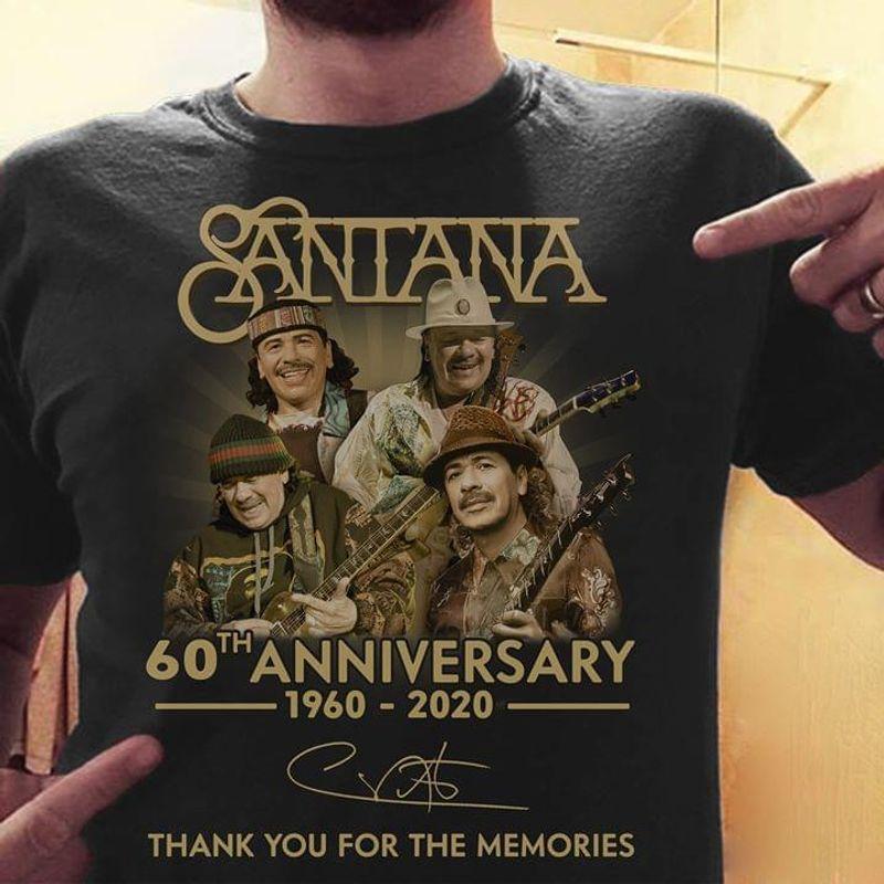 Santana 60th Anniversary Thank You For The Memories Black T Shirt Men/ Woman S-6XL Cotton