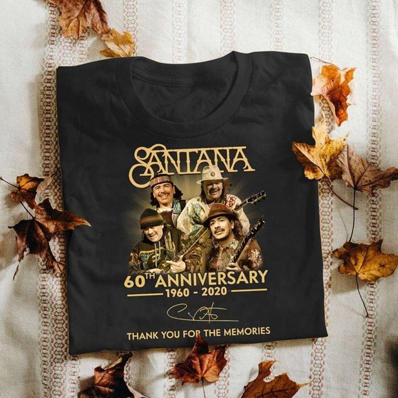 Santana 60th Anniversary Thank You For The Memories Santana Signed Black T Shirt Men And Women S-6XL Cotton