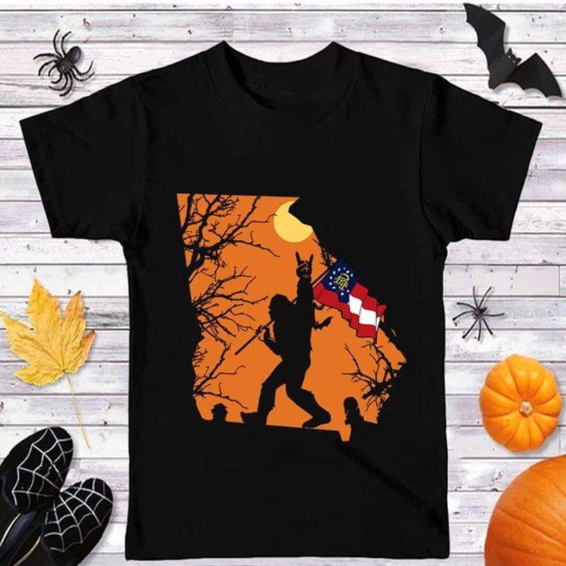 Sasquatch Bat Halloween Style Georgia Flag Us State Black T Shirt Men And Women S-6XL Cotton