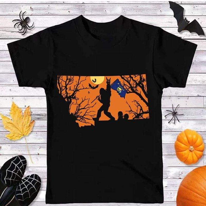 Sasquatch Bat Montana Flag Montana Us State Halloween Style Black T Shirt Men And Women S-6XL Cotton