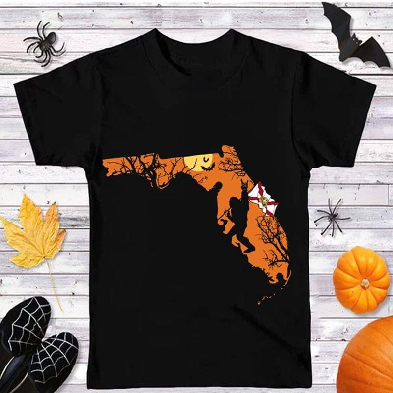 Sasquatch Florida Flag Florida Us State Black Halloween Style Black T Shirt Men And Women S-6XL Cotton