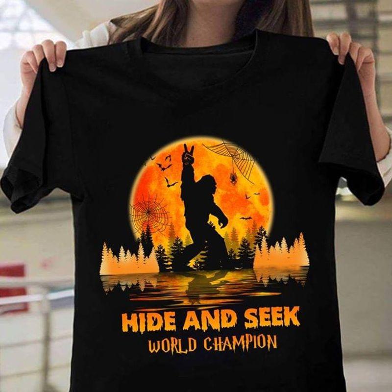 Sasquatch Halloween Style Hide And Seek World Champion Black T Shirt Men And Women S-6XL Cotton