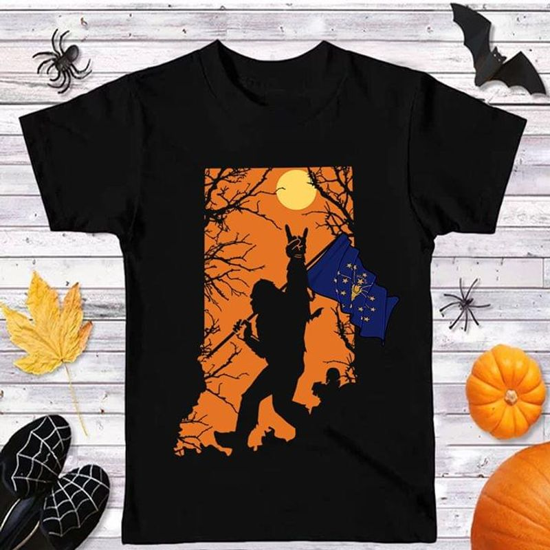Sasquatch Lover Halloween Style Indiana Flag Indiana Us State Black T Shirt Men And Women S-6XL Cotton