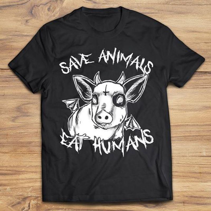 Satanic Pig Save Animals Eat Humans T-shirt Black