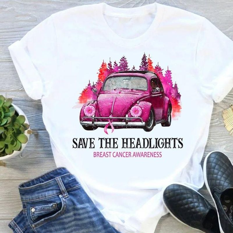 Save The Headlights Breast Cancer Awareness Autism White T Shirt Men And Women S-6XL Cotton