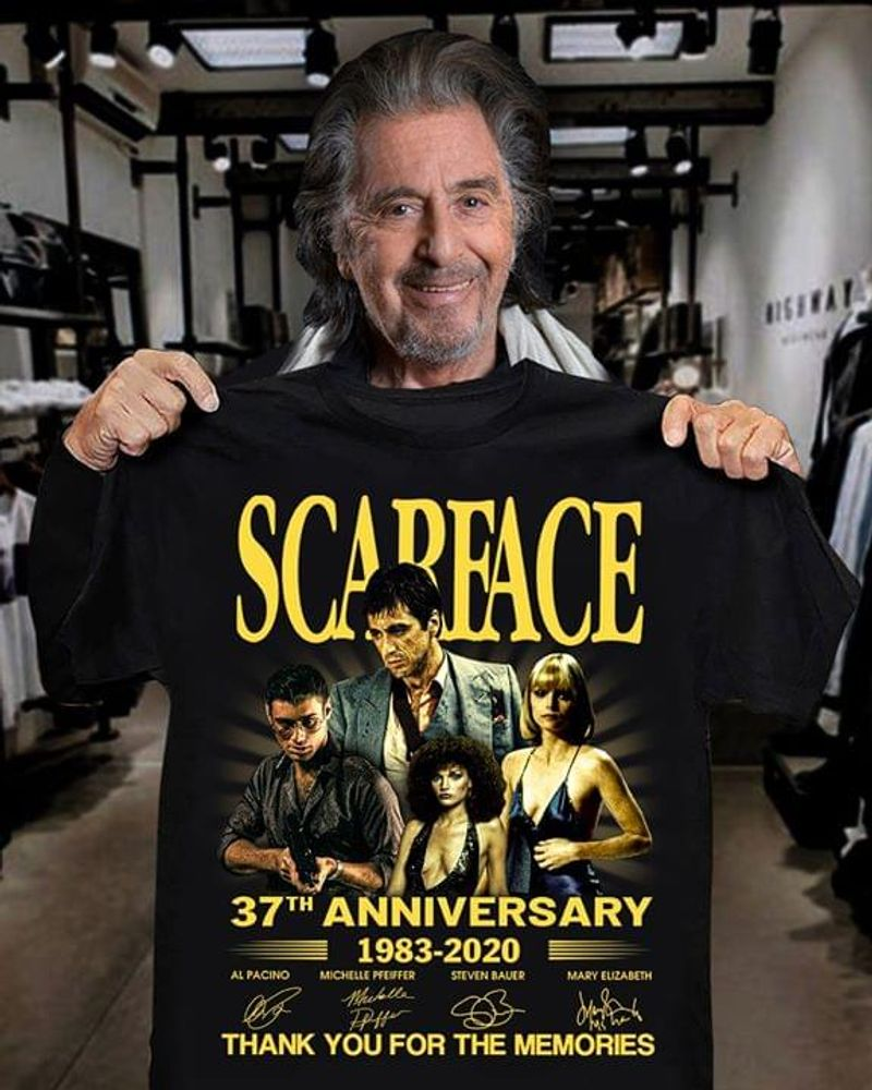 Scarface 37th Anniversary Thank You For The Memories Signatures Black T Shirt Men/ Woman S-6XL Cotton