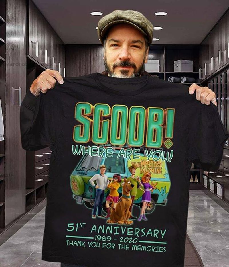 Scoob Characters Where Are You 51St Anniversary 1969 2020 Thank You For The Memories Black T Shirt Men And Women S-6XL Cotton