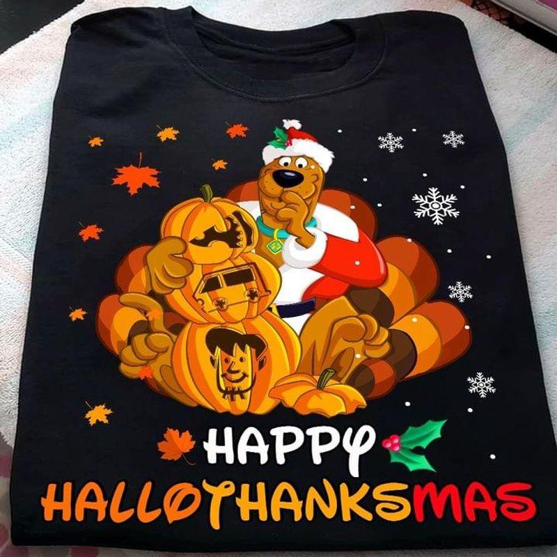 Scooby Doo Happy Hallothanksmas Merry Christmas Happy Halloween Black T Shirt Men And Women S-6XL Cotton