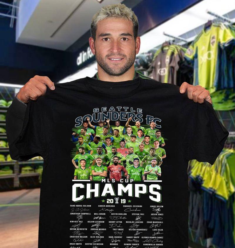 Seattle Soundenrs Fc Mls Cup Champs 2019    T-shirt Black B1