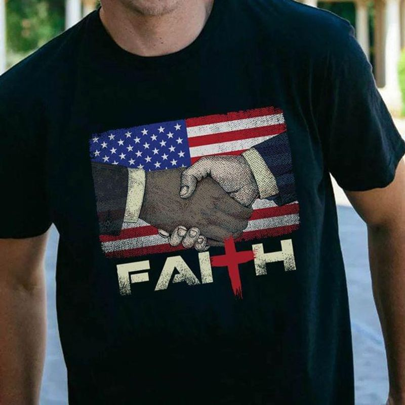 Shaking Hand American Flag Faith 4Th July Independence Day Black Men And Women Shirt