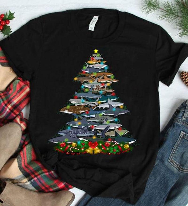 Shark Christmas Tree Merry Christmas Black T Shirt Men/ Woman S-6XL Cotton