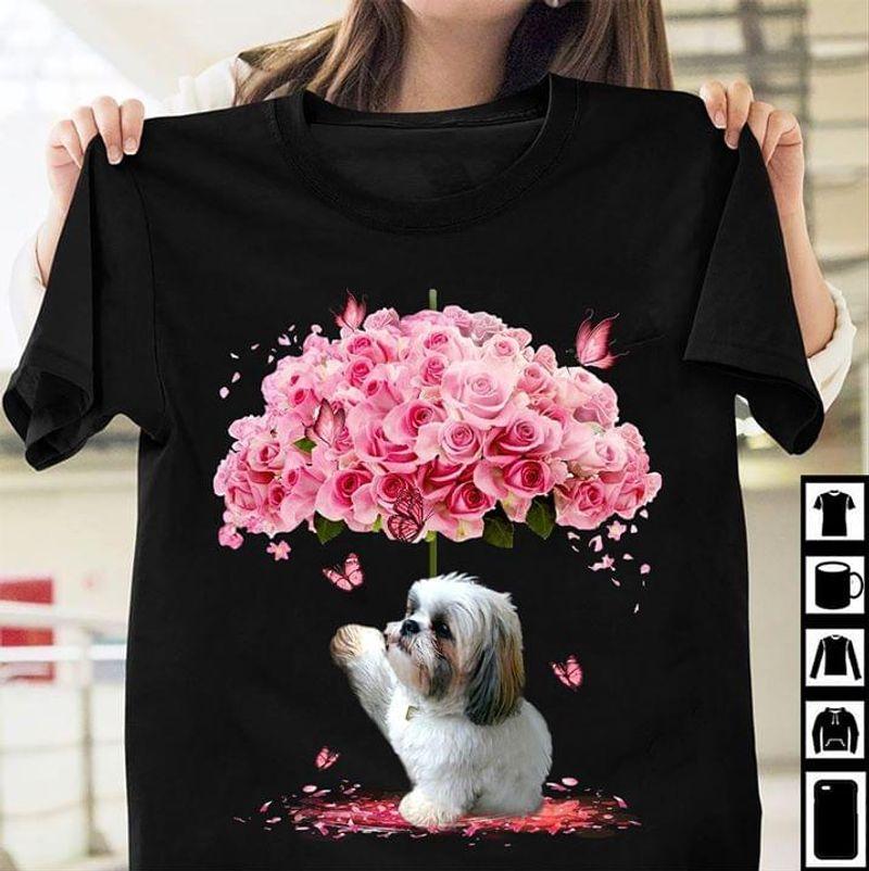 Shih Tzu Rose Umbrella Butterflies Adorable Chrysanthemum Dog Black T Shirt Men And Women S-6XL Cotton