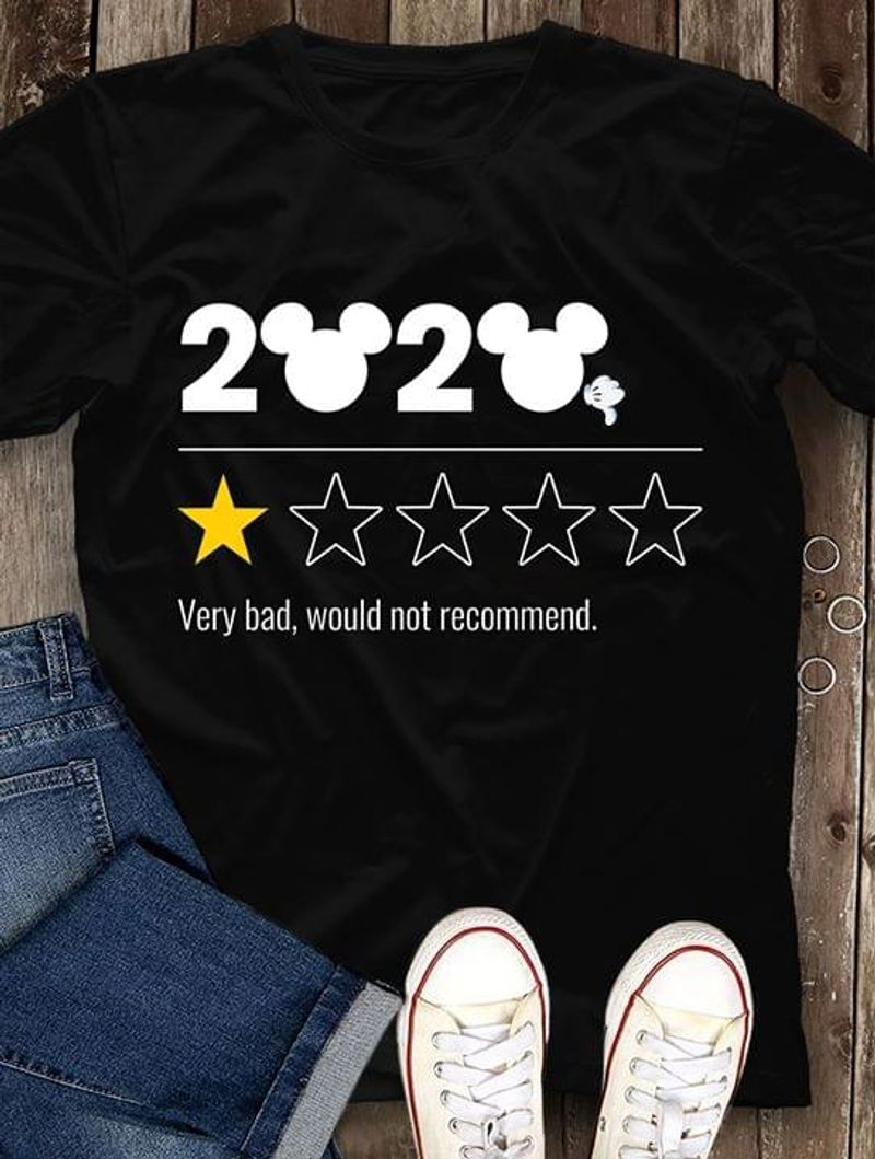 Silvery Apparel 2020 One Star Rating Funny Very Bad Would Not Recommend Black T Shirt Men/ Woman S-6XL Cotton