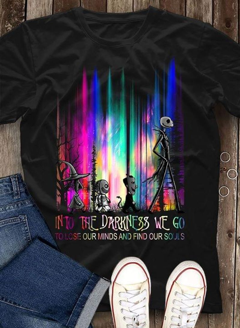 Silvery Apparel Into The Darkness Happy Halloween Aurora Creepy Vibe Black T Shirt Men And Women S-6XL Cotton