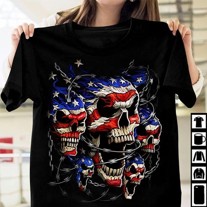 Skulls US Flag Independence Day 4th Of July Black T Shirt Men/ Woman S-6XL Cotton