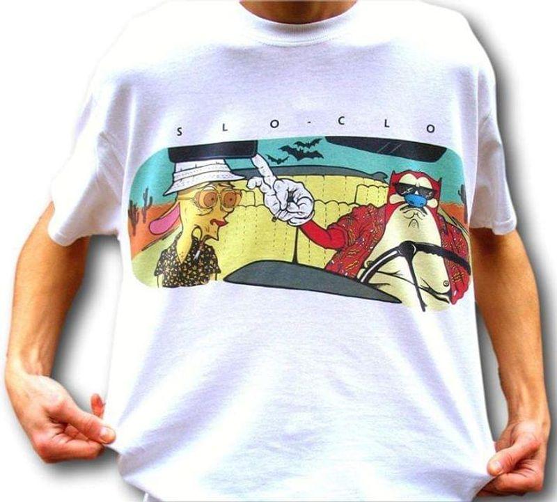 Slo Clo Fear & Loathing In Las Vegas Ren & Stimpy Mashup Graphic Shirt White T Shirt Men And Women S-6XL Cotton