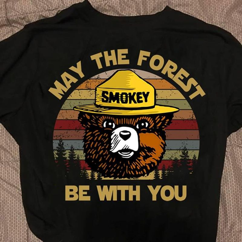 Smokey Bear May The Forest Be With You Wildfire Prevention Campaign Black T Shirt Men And Women S-6XL Cotton