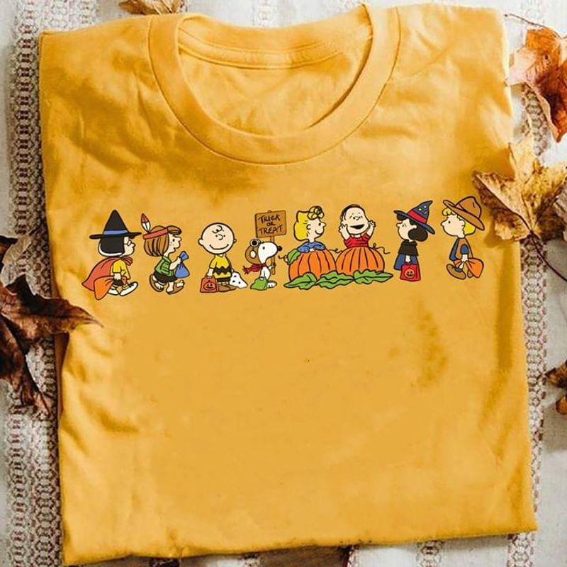 Sn00py And Friends Halloween Party Funny Cartoon Art Gold T Shirt Men And Women S-6XL Cotton