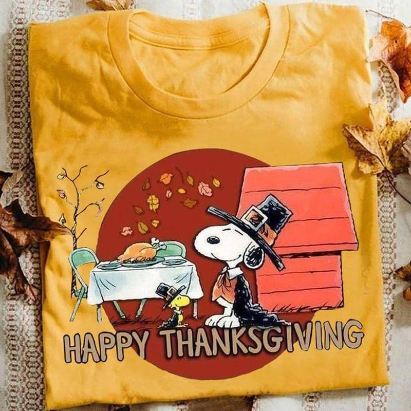 Sn00py & Peanut Thanksgiving Party Turkey Happy Thanksgiving Gift Ideal Gold T Shirt Men And Women S-6XL Cotton