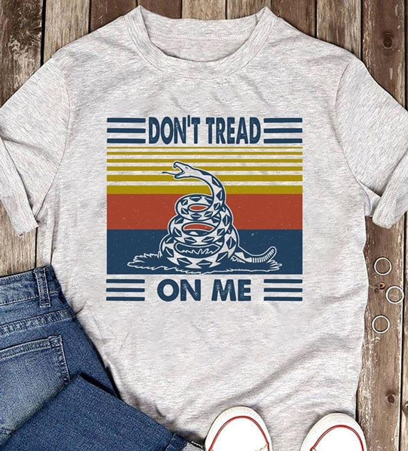 Snake Don'T Tread On Me Retro Vintage Gadsden Flag Rattle Snake Heather T Shirt Men And Women S-6XL Cotton