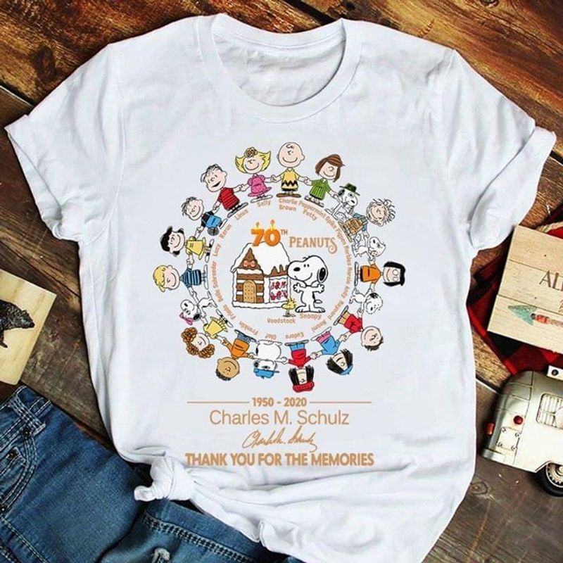 Snoopy 70th Peanuts Charles M. Schulz Thank You For The Memories White T Shirt S-6xl Mens And Women Clothing